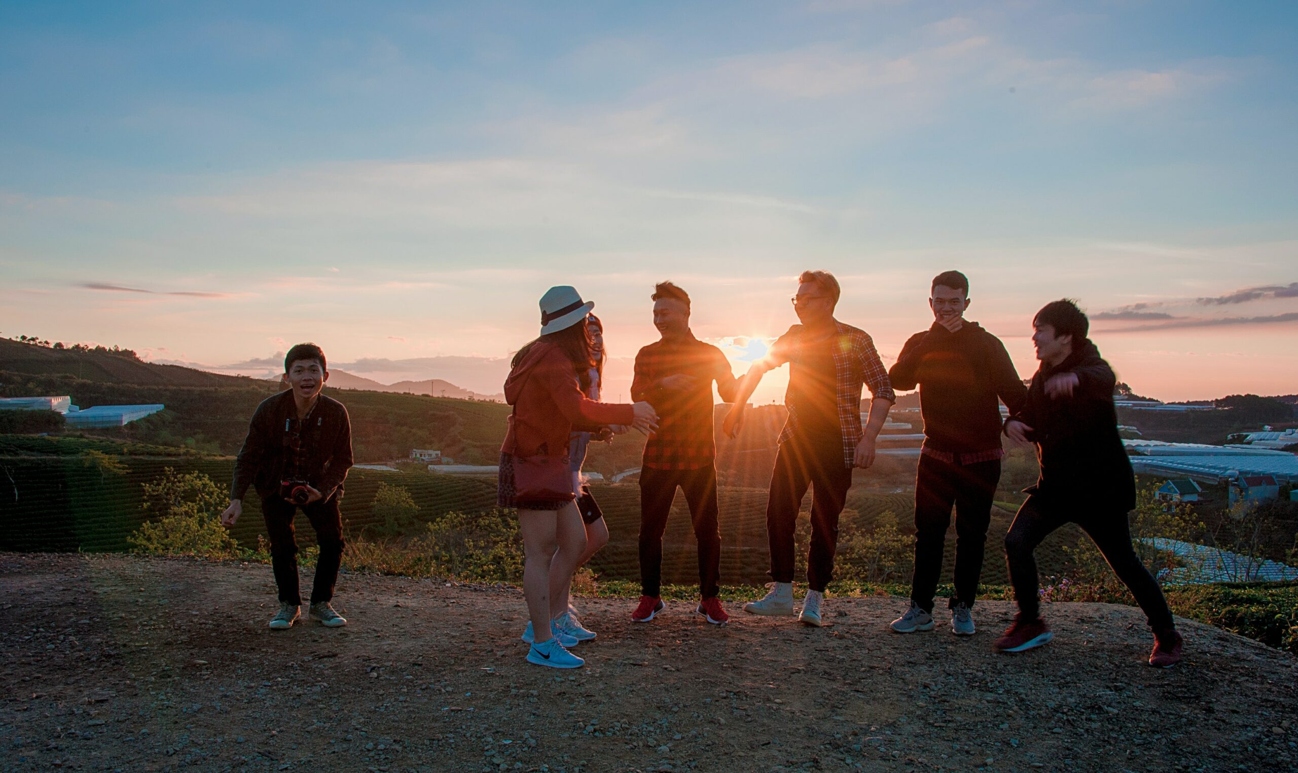 teen group at sunset